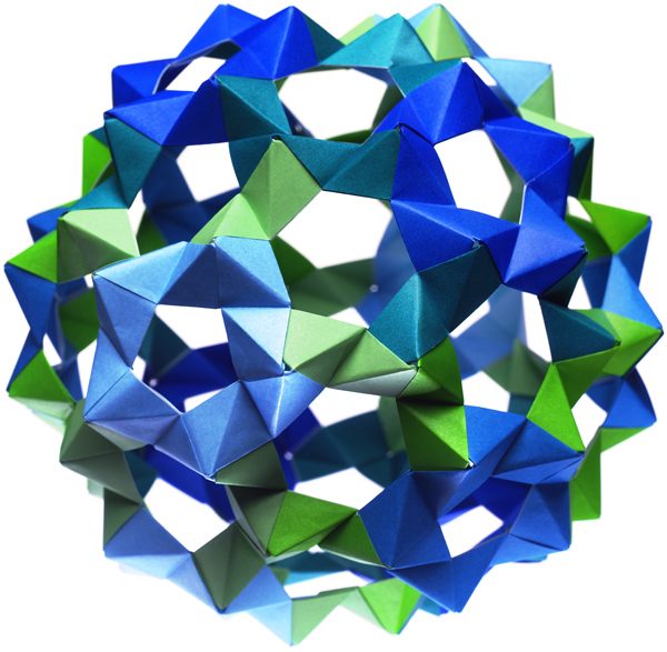 John Horigan.  The image in our logo is a modular origami sphere made by.